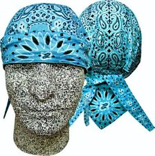 Turquoise Blue Paisley Doo Rag Headwrap Skull Cap Sweatband Capsmith Biker