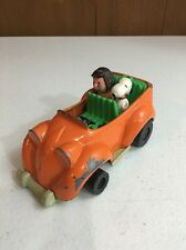 Vintage Snoopy Toy Metal Car 1966 Peanuts Aviva Peppermint Patty Orange, as is