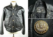 Vtg CHICAGO COP SHOP Police Leather Motorcycle Jacket Black sz 46