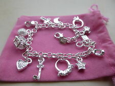 Sterling Silver 925 Charm Bracelet with 13 Lucky Silver Plated Charms Free Pouch
