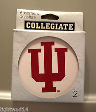 Indiana University Hoosiers IU 2 Pack Round Stoneware Coaster Cork Back NEW
