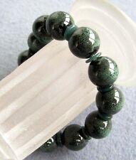 Deep Green Porcelain Tibet Buddhist Prayer Beads Mala Bracelet Jewelry