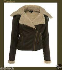Topshop Brown Sheepskin Shearling Faux Leather Aviator Biker Jacket Coat 12 40 M