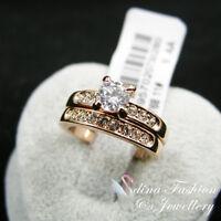 18K Rose Gold Plated Made With Swarovski Element Engagement Wedding Ring Set
