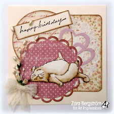TUBBY FAT CAT (U get photo # 2) L@@k@ examples art impressions rubber stamps