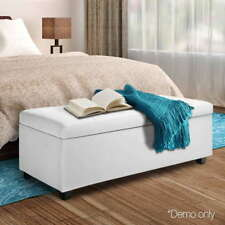 Quality Large PU Leather Storage Ottoman - White Fast & Postage