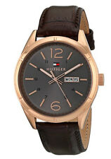 NEW TOMMY HILFIGER ROSE GOLD TONE, BROWN CROC. LEATHER BAND WATCH 1791058