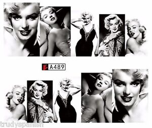 Full Wrap Water Transfers Nail Art Decals Black White Marilyn Monroe (a489)