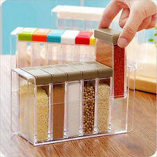 6 Pcs/set Salt Pepper Sugar Shaker Slide Dispenser Container Bottle Can Kitchen