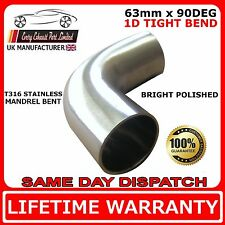 """90 degree 2.5"""" 63mm Tight 1D Mandrel Exhaust Bend 316 Stainless Steel Polished"""