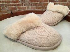 Lamo Ivory Sweater Knit Fur Trim Caroline Scuff Slippers Clogs New