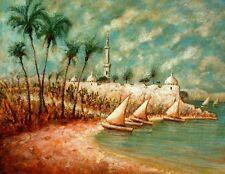 Peinture orientaliste, felouques, minaret, palmiers.