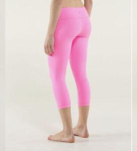 Lululemon Hot Pink Crop Yoga Leggings Size 4 Small Wunder Under
