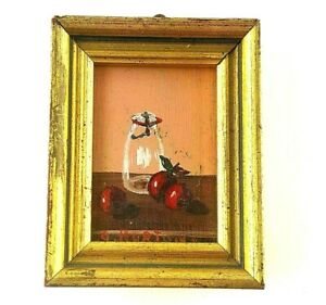 Miniature Painting Mini Doll House Wall Hanging Framed Picture Apples Still Life