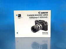Canon Macro Lens FD50mm f/3.5S.S.C. Instructions Anleitung - (25825)