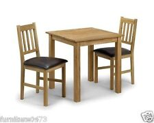 Solid Oak Square Dining Table & 2 Dining Chairs W75cm x D75cm x H75cm MOOR