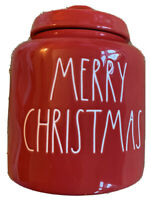 "New RAE DUNN Holiday Christmas LL ""MERRY CHRISTMAS"" Red 8"" Canister By Magenta"