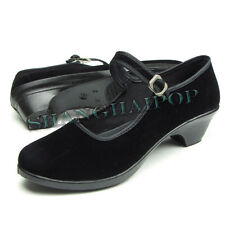Women Black Mary Jane Wedge Shoes Cotton Comfortable Lady Mid Heel Size 5-9 New