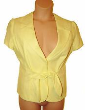 BNWT size 18 Marks & Spencer LINEN MIX JACKET w Tie Belt, short sleeve Pale Lime