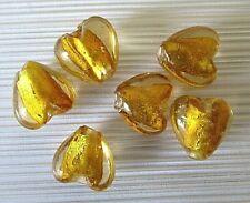 6 glass silver foil heart beads, gold