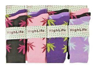 High life Ladies Socks Novelty Cannabis Leaf Ganja Marijuana Casual Adults 12/6p