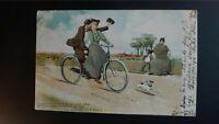 Woman Kissing Man on Bicycle Stewart & Woolf Postcard