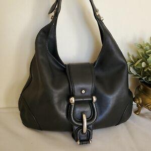 Burberry Leather Shoulder Bag Calf Leather Tote Large Black Authentic Vintage