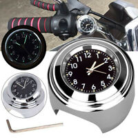 "7/8"" 1"" Waterproof Motorcycle Motorbike Handlebar Mount Clock Black Dial Watch"