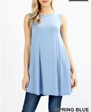 Zenana Outfitters 1X Tunic Top Stretch Jersey Sleeveless Trapeze Pocket Blue