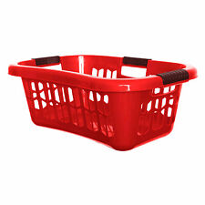 Whitefurze Easy Grip Handles Hip Laundry Basket Red 65 cm Clothes Storage Carry