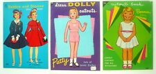LOWE PAPER DOLLS Lot of 3 DEBBIE and DIANNE, BONNIE, DRESS DOLLY PATTY 1960's