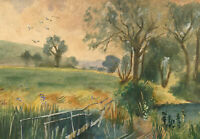 Mid 20th Century Watercolour - Landscape with Small Wooden Bridge