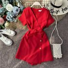 Playsuit Casual Clothes With Belt For Women High Waist Wide-legged Jumpsuits New