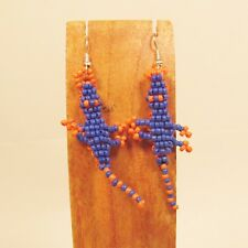 Wholesale Lot 12 PCS Handmade Orange Blue Beaded Gator Earrings Team Colors