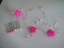 Parure enfant fille rose/fuchsia Collier bracelet boucles pic cheveux cérémonie