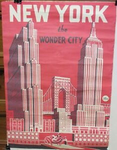 NEW YORK THE WONDER CITY RED COLOR POSTER