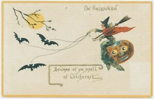 """Antique Postcard Copy 4x6 Halloween Witch """"Beware Of Witchcraft"""""""