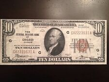 Reproduction 1929 $10 Bill Federal Reserve Bank Note Chicago Hamilton