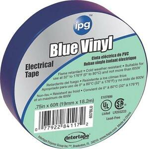 "LOT OF (10) ROLLS INTERTAPE 85831 3/4"" X 60' BLUE VINYL ELECTRICAL TAPE 3779873"