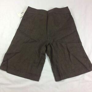 600 West Women Linen Shorts Size 4 Brown Knee Length Career Office Modest New