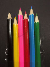 6 Mini Colouring Coloured Pencils Kids Birthday Party Easter Favours Treat Bag