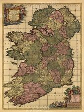 Map of the Republic of Ireland 1700s - 20x28