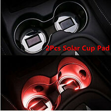 2Pcs Car Truck Solar Energy Cup Holder Mat Bottle Bottom Pad Trim With Red Light