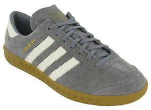 Adidas Hamburg Trainers Classic Originals Mens Suede Leather Grey Retro Lace