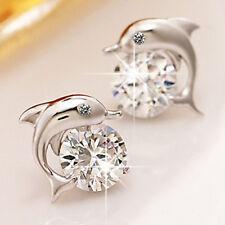 2016 Crystal Eye Dolphin CZ Ear Stud Earrings Women 925 Sterling Silver Jewelry