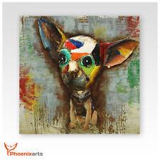 Cuadro metal 3d - Chihuahua Perro - ejemplar Único relieve de pared 409