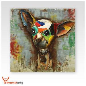 Metallbild 3D - Chihuahua Hund - Metall Bild Unikat Wandrelief 409
