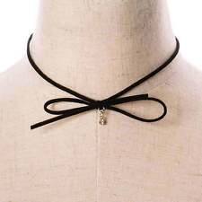 Crystal Rhinestone Ribbon Bow Choker Black Faux Leather Suede Wrap Necklace