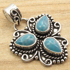 Simulated LARIMAR 3 Gems Pendant, 925 Silver Plated Traditional Handmade Jewelry
