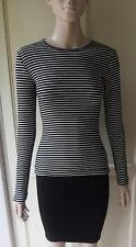 American Apparel Rib Long Sleeve Crewneck Top Black & White Natural Stripe S